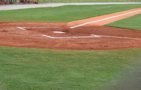 batters: Home plate and batters box at a baseball field