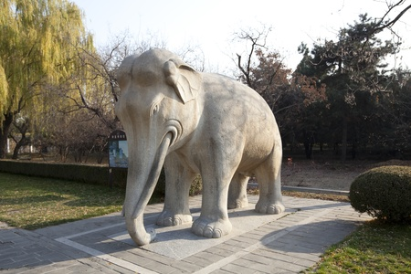 Elephant Statue on The Sacred Way Of The Ming Tombs Stock Photo - 11593951