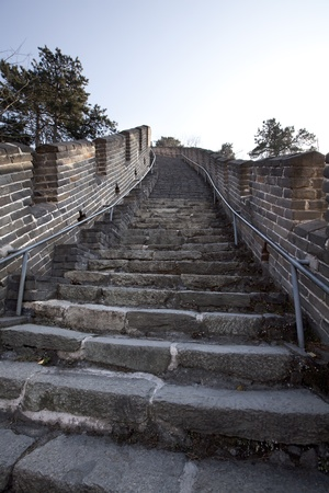 Stairs Going Up The GReat Wall Of China photo