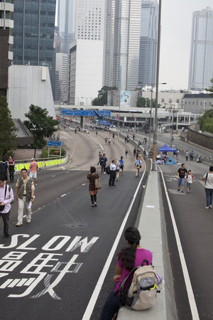 protestors: Pro democracy protestors have blocked off streets in Hong Kongs Central business district since September  28, 2014. They are demanding Beijing allow fair elections for Hong Kongs Chief Executive in 2017.