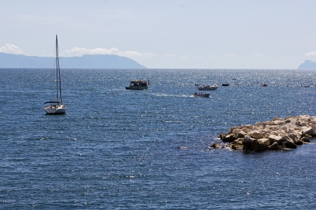 tyrrhenian: View of the Bay of Naples on a sunny day