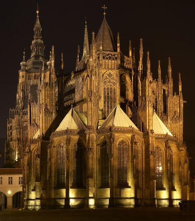 vitus: St. Vitus Cathedral, located in Prague castle, at Night