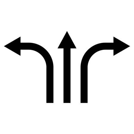 three-way direction arrow sign, road direction icon, vector illustration