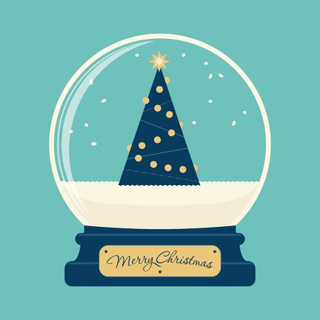globo terraqueo: Feliz bola de cristal de Navidad con el árbol Vectores