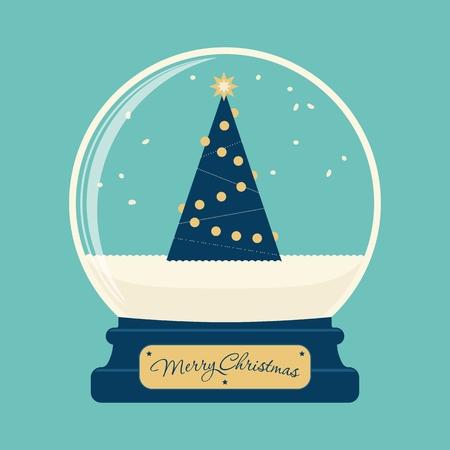 globe: Merry christmas glazen bol met boom
