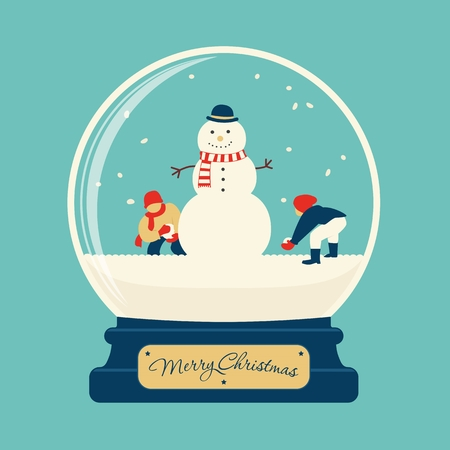 christmas snow globe: Merry christmas glass ball with snowman and children playing at snow