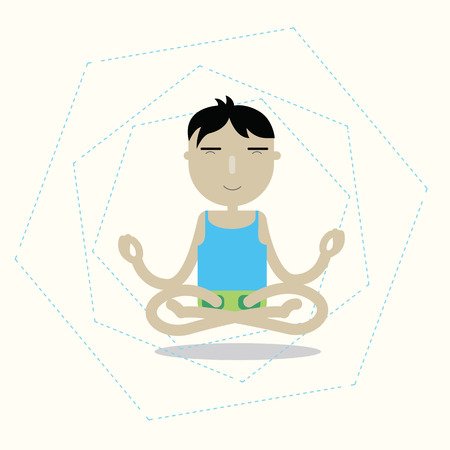man meditating: Vector man sitting cross-legged meditating