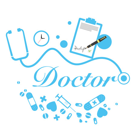 medical instruments: vector doctor title with medical instruments Illustration