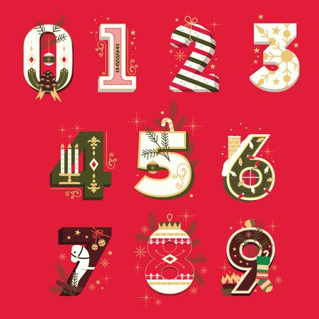 Vector Christmas Numbers , vector illustration set Illustration