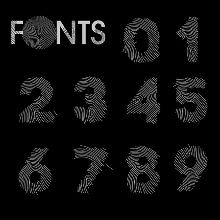 finger print: Finger print numbers best font vector illustration