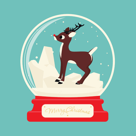 Merry christmas glass ball with Reindeer Rudolf. Celebratory scenery. Eve of New Year. Congratulatory postcard or greeting.