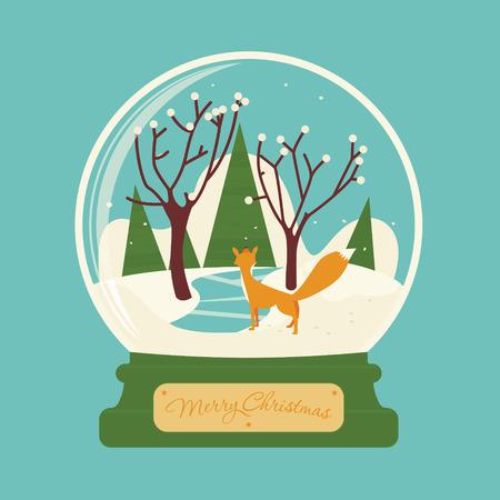 zorro: Feliz navidad bola de cristal con el zorro en el bosque. Escenario de celebración. Víspera de Año Nuevo. Postal o tarjeta de felicitación.
