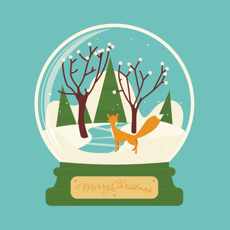 Merry christmas glass ball with fox in the forest. Celebratory scenery. Eve of New Year. Congratulatory postcard or greeting.