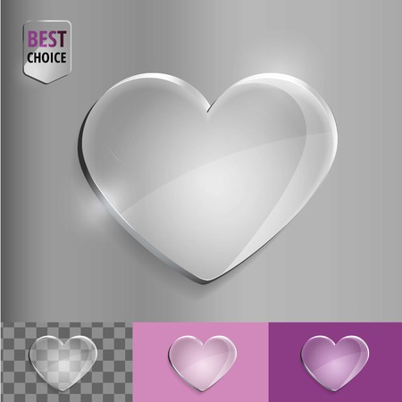 crystal heart: Crystal love heart bubble with soft shadow on gradient background . Vector illustration EPS 10 for web