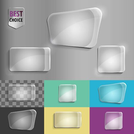 translucent: Rectangle and square set of glass shape icons with soft shadow on gradient background . Vector illustration EPS 10 for web