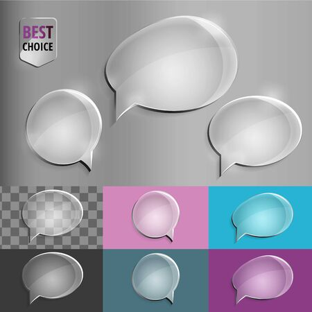 speech: Oval and round glass speech bubble icons with soft shadow on gradient background . Vector illustration EPS 10 for web