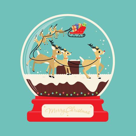 wereldbol: Vrolijke kerstmis santa geschenken met rendieren op het dak van het huis Stock Illustratie