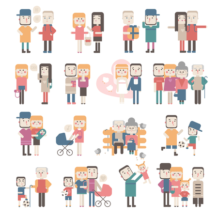 situations: Set of people in different situations. Flat. Illustration