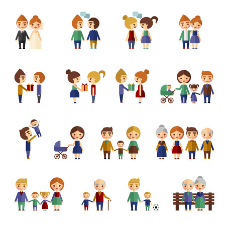 father of the bride: Set of flat people. People on a white background in different situations.