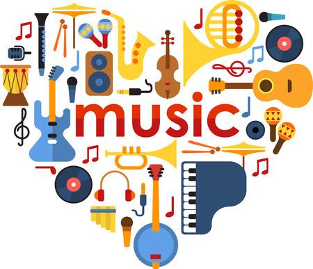 maracas: Music Heart set vector.  Musical instruments arranged in a heart shape.