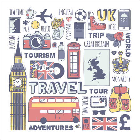 telephone booth: England travel set. Characters travel to England. Illustration