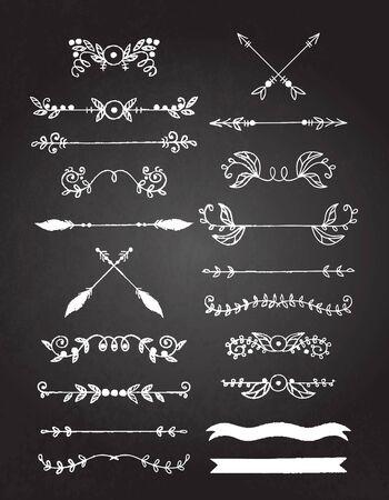 Calligraphic design elements. White on black background.