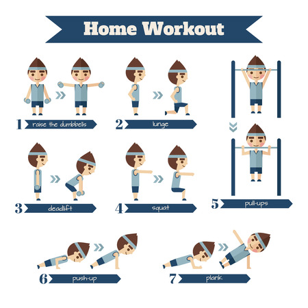 situations: Sport and fitness infographics. Set of situations in which people are involved in sports. Illustration