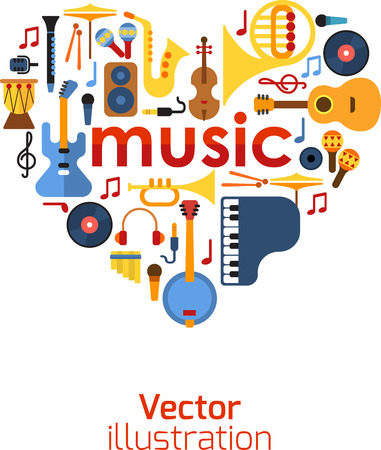laid: Music Heart set vector. Musical instruments laid out in a heart shape. Illustration