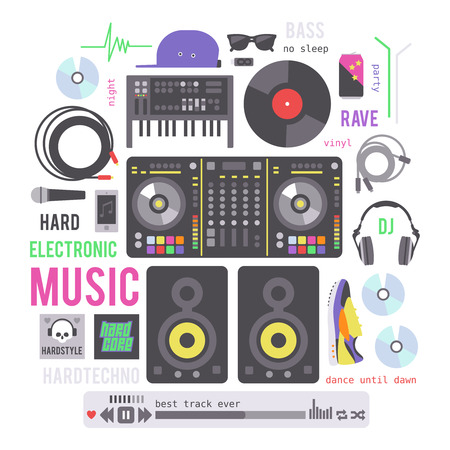 electronic music: Electronic musical devices. Set of tools for creating music or disco. Illustration