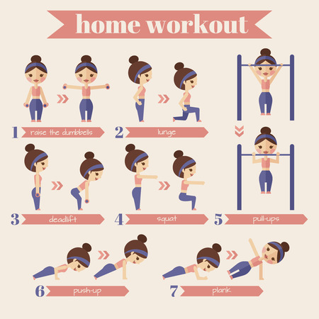 workout gym: Sport and fitness infographics. A set of exercises for women engaged in the house.