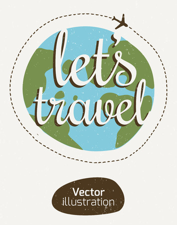 travel: The emblem of the traveler. Tourist sign-style stripes.