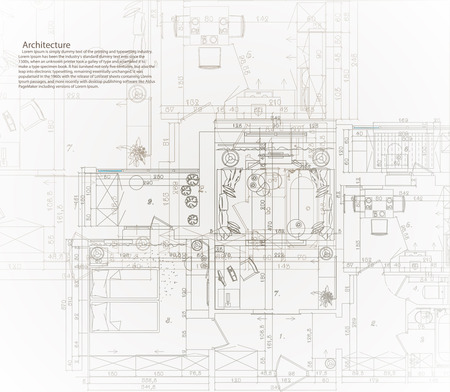 architectural: Architectural house blueprint. The architectural plan of the apartment.