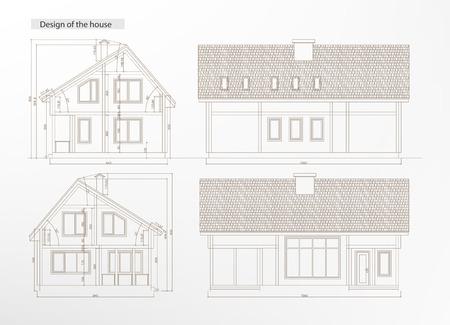 建築家の青写真。家の外観の建築スケッチ。