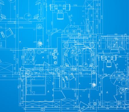 詳細な建築の計画。アパートの建築の計画。  イラスト・ベクター素材
