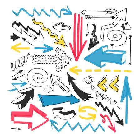 sketched shapes: Hand drawn arrows set for presentation. Set manually created elements. Illustration