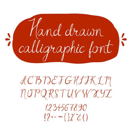lettres alphabet: Alphabet. Main lettres établi. Sloppily lettres et chiffres écrite. Illustration