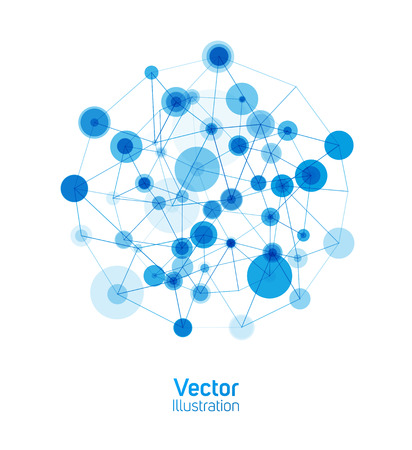 Digital connection background. Blue ball consisting of dots and lines on a white background.