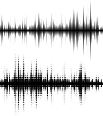 波形の背景。黒と白のハーフトーン ベクトル音の波。