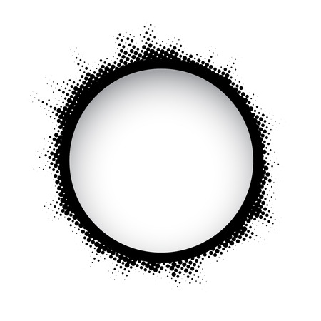 halftone pattern: Halftone dots circle. Black and white round frame on white background.