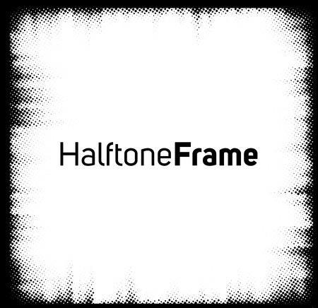 Halftone dots frame. Black and white square frame. Ilustração
