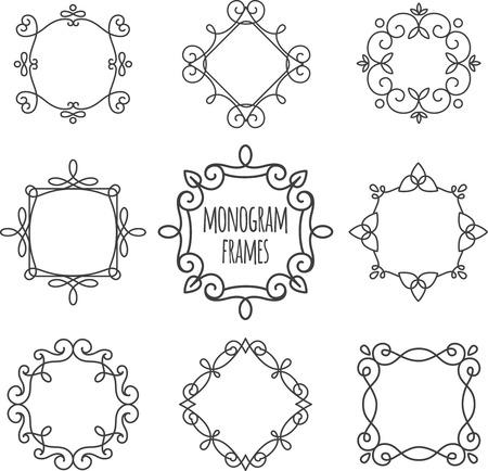 Monogram frames. Set monogram vintage frames stylized antique. Ilustração