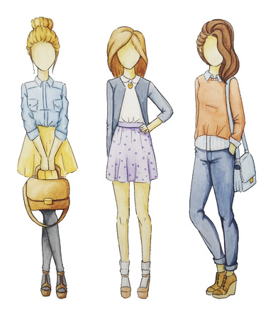 jeans skirt: Fashionable girls without a Face set. Drawings in pencil manner. Illustration