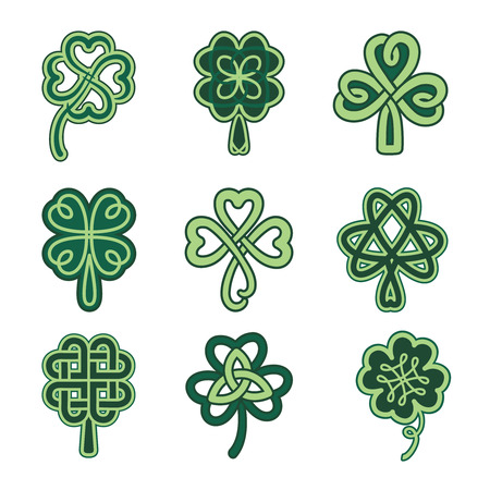 Celtic clover patterns. Holiday symbols on a white background.