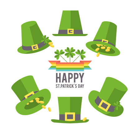 St. Patricks Day hat set. Holiday symbols on a white background. Vector