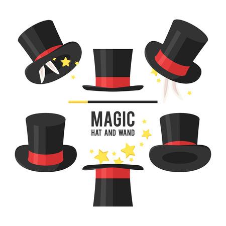 Magische hoed set. Goochelaar hoed op een witte achtergrond. Stock Illustratie