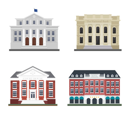 courthouse: Set the city administration building and the hotel. Detached houses on a white background frontally.