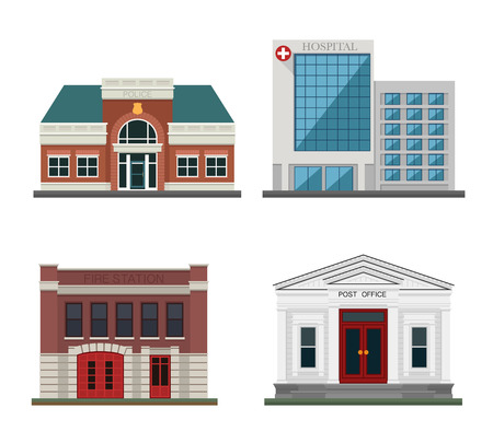 post office building: Detached houses on a white background frontally. Set the city.