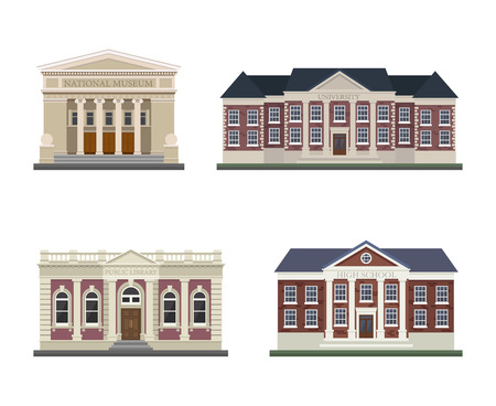 university building: Detached houses on a white background frontally.