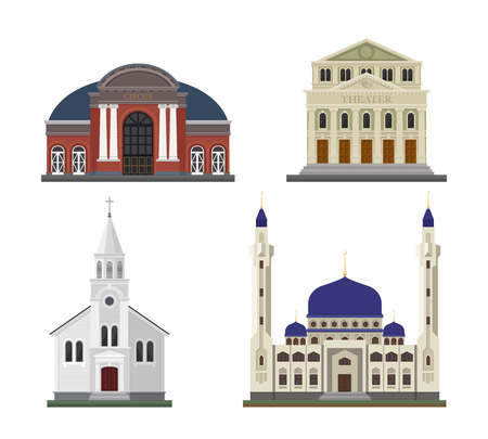 detached: Detached houses on a white background frontally.