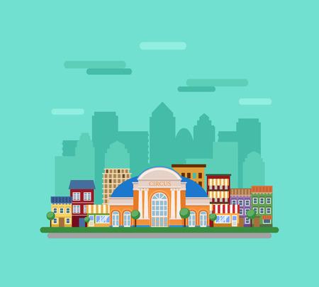 風景: フォア グラウンドでサーカスの建物と都市景観。  イラスト・ベクター素材